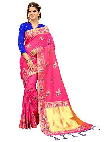 Pink And Royal Blue Banarasi Patola Style Saree