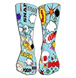 Chaussettes Hautes Women's Tube Stockings Athletic Crew Socks 19.7'(50cm) Retro Comic Speech Bubbles Labels Logos Comic Book Words Comics Drawing