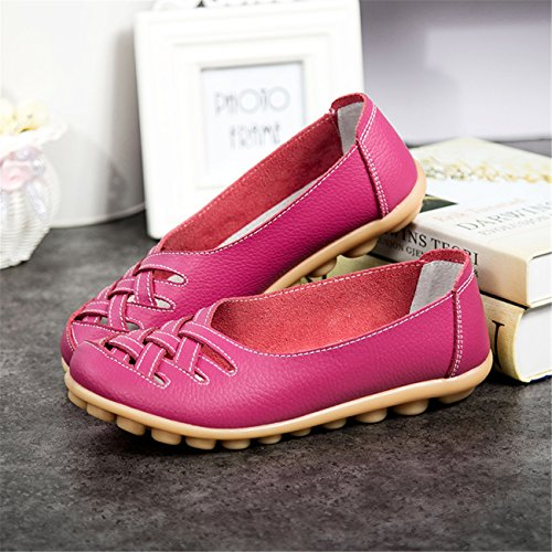 Auspicious beginning New Leather Moccasins Hollow Out Flats Loafers For Women rose rouge