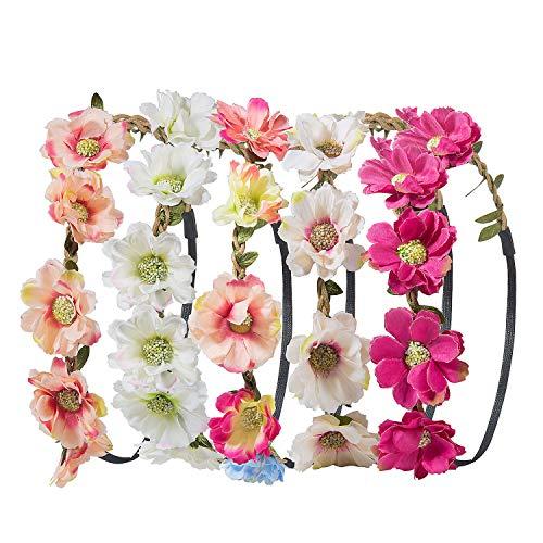 Stirnband Blumen, ZWOOS 5 Stück Stirnbänder Krone Haarband Kopfband Blume Haarbänder mit Elastischem Band für Hochzeit und Party (9)