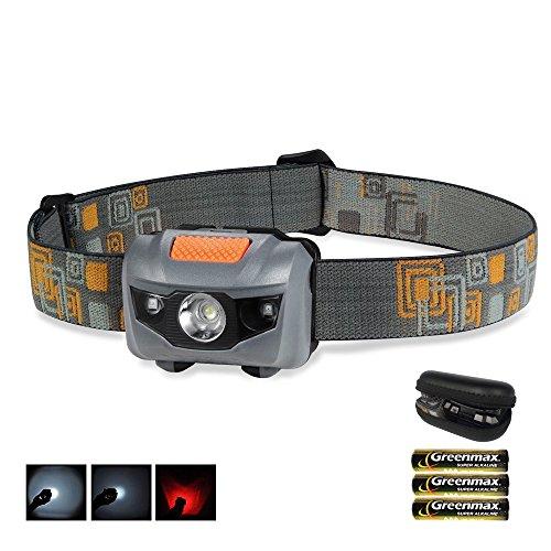 LED Stirnlampe Inklusive Schutzetui & Batterien - Wasserdichte Kopflampe für kinder/ Jogging/ Camping/ Arbeit/ Angeln - 4 Einstellungen Mit Weißem Nnd Rotem Licht (Trail-running-mini)