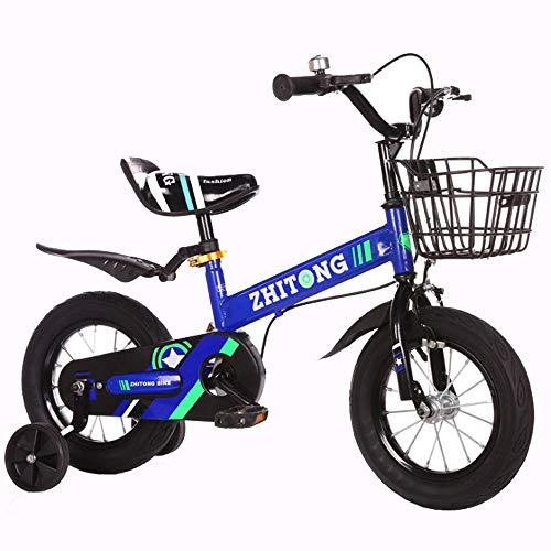 """KY Kinderfahrrad Freestyle-Mädchen des Jungen der Kinder-Fahrrad, 3 Farben, in Größe 12"""", 14"""", 16"""", 18"""" mit Stabilisatoren. (Color : Blue, Size : 12inch)"""