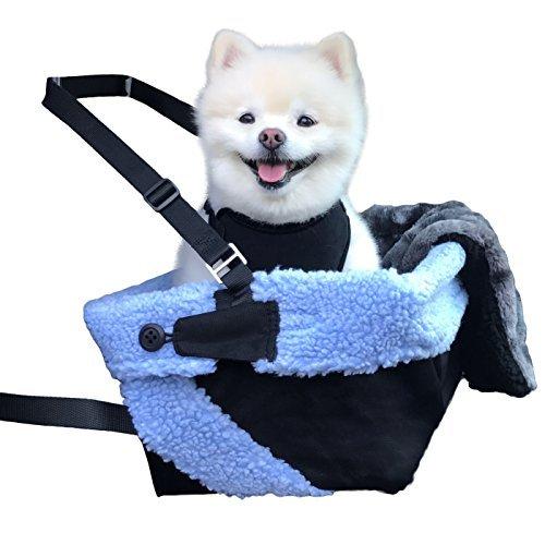 Stella and Bear Cozy Boost Sitzerhöhung für Hunde, mit Leine zum Anklipsen, Plüschdecke und zusammenklappbarer Schale für Kleine und mittelgroße Hunde, Welpen und Haustiere, Large, schwarz/blau -
