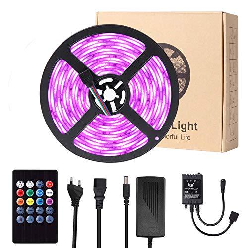 LED Streifen, Targherle 5M 300 LED Bänder Sync mit Musik, LED Lichtband RGB SMD 5050 IP65 Wasserdicht, LED Strips mit 20 Tasten IR Fernbedienung für Decke Bar Theke Schrank Beleuchtung Usw