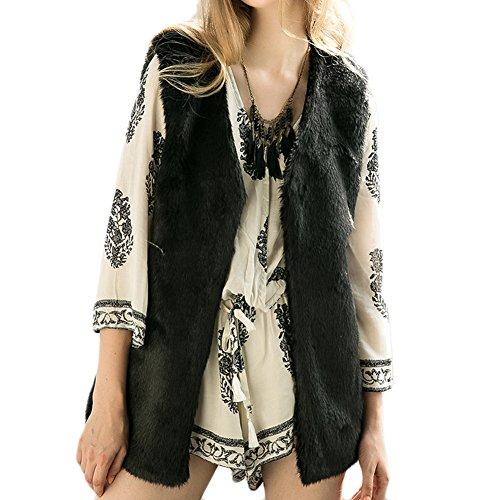 Invernale da Donna in pelliccia sintetica gilet gilet Scollo a V Solid Color Outwear Gilet taglie forti Black X-Large