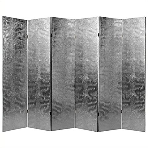 Oriental Furniture Wide Extra Large Size, 6-Feet Faux Leather Silver Crocodile Textured Vinyl Room Divider, 6 Panels