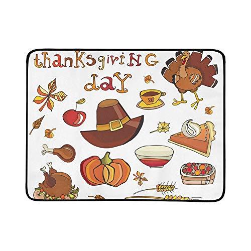 KAOROU Thanksgiving Day Icon Set Siehe ähnliche tragbare und Faltbare Deckenmatte 60x78 Zoll Handliche Matte für Camping Picknick Strand Indoor Outdoor-Reisen -