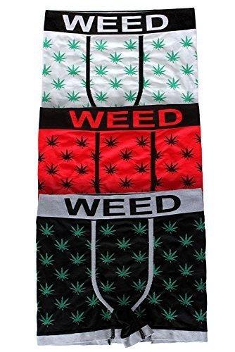 Mauvaise Herbe Kush Marijuana Cannabis Feuille Boxers Sous-vêtements Paquet De 3 - Blanc / Rouge / Noir, Medium
