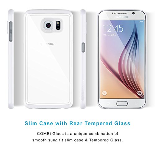 Coque Samsung Galaxy S6 Case | iCASEIT COMBi Glass Case | Slim case with Strengthened Glass back | Only 0.8mm in Thickness | Exact-Fit with Premium Finish | BABY PINK PURE WHITE