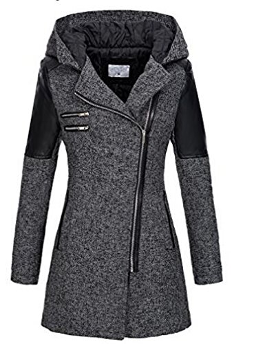 cravog women hooded lapel long sleeve faux leather patchwork zip up outwear trenchcoat best. Black Bedroom Furniture Sets. Home Design Ideas