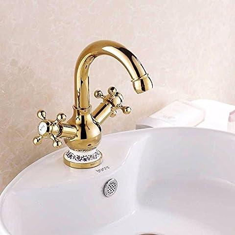 LFNRR Hochwertige Waschbecken Wasserhahn alle Kupfer kalte und heiße Mischung der beiden Seiten der Hahn blau und weiß Porzellan im Europäischen Stil, goldenen Wasserhahn