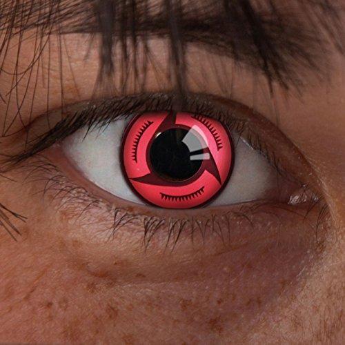 (aricona Kontaktlinsen Sharingan Kontaktlinse Crimson -Deckende,farbige Jahreslinsen für dunkle und helle Augenfarben ohne Stärke,Farblinsen für Cosplay,Karneval,Motto-Partys und Halloween Kostüme)