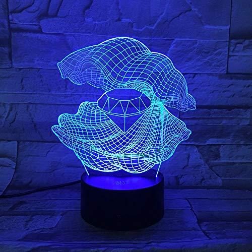 HLDWMX 3D Nachtlicht, Perlmutt 16 Farben fernsteuerung Berührungssteuerung Tischleuchte,Optische Illusion LED Nachtlampe USB Tischlampe, für Kinder Geburtstag beste Geschenk Spielzeug