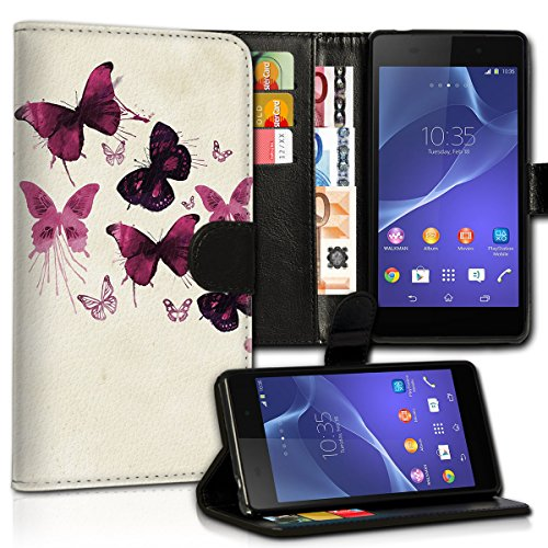 wicostar Book Style LG L Bello Premium PU-Leder Tasche Flip Brieftasche Handy Hülle Kartenfächer mit Standfunktion für LG L Bello - Design Flip MVC14