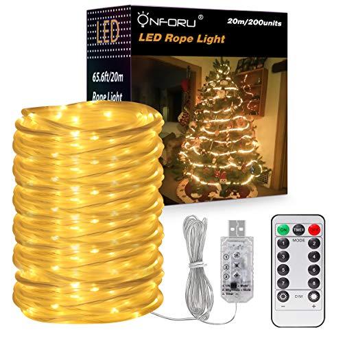 Onforu 20m LED Lichtschlauch mit 8 Modi Fernbedienung, 200 LEDs Warmweiß Licht Lichterkette mit...