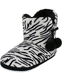 f44535e9544e Brandsseller Kuschelige Damen Hüttenschuhe Hausstiefel Plüsch mit Muster  und Bommel - in den Farben  Zebra, Tiger,…