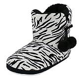 Kuschelige Damen Hüttenschuhe Hausstiefel Plüsch mit Muster und Bommel - Farbe: Zebra - Größe: 38 - von Brandsseller