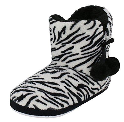Brandsseller Kuschelige Damen Hüttenschuhe Hausstiefel Plüsch mit Muster und Bommel - Farbe: Zebra - Größe: 36