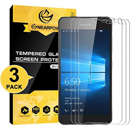 NearPow Microsoft Lumia 650 Protector de Pantalla, [3 Unidades] Cristal Templado Protector de Pantalla para Microsoft Lumia 650, Vidrio Templado con [9H Dureza] [Alta Definicion] [Sin Burbujas]