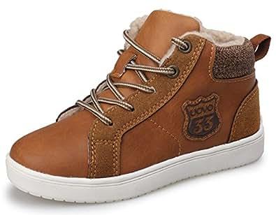 Aisun Jungen Unisex Kinder Kunstleder Schnürsenkel High Top Flach Reißverschluss Warm Gefüttert Sneakers Braun 33 EU Nb2VmI3m