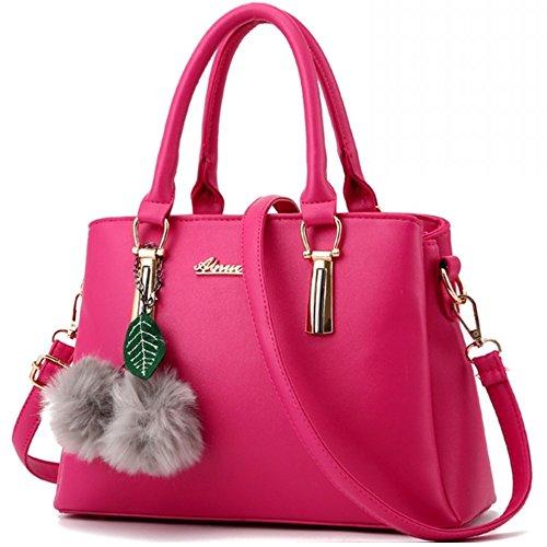 Sac a main Femme Simple Mode Sacs à main en PU Cuir Sac d'épaule Pour Filles Noir (L022EU-Rose rouge)