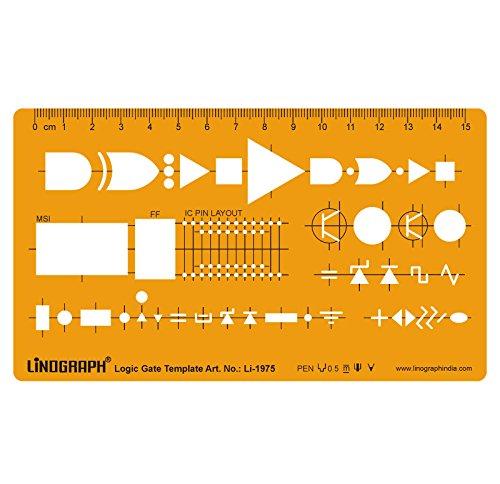 Logic-Gate-Vorlage Entwurf und Design-Vorlagen Stencil Symbole Technische Zeichnung Maßstab Template