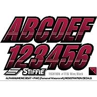"""stiffie techtron vino/negro 3""""alpha-numeric registro números de identificación pegatinas adhesivos para barcos & Personal Watercraft"""