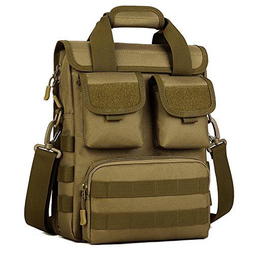 Huntvp Taktisch Crossbody Tasche Wasserdichte Laptop Handtaschen Molle Military Schulter Taschen für Outdoor Sport Wandern Trekking - 26 x 34 x 8-12cm Braun