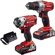 Einhell Máquinas de Juego de herramientas Te TK 18Li (batería de taladradora y atornillador de impacto inalámbrico, incluye 2Stk 18V Sistema cargador de baterías, y funda)