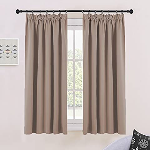 Blackout Pencil Pleat Windows Curtains - PONYDANCE Readymade Thermal Insulated Blackout Curtains for Bedroom / Window Treatment Drapery Panels Room Darkening, Set of 2 Pieces, W46
