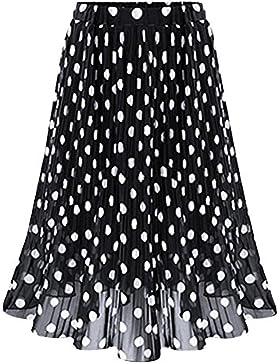 Jipai TM Midi Faldas para Mujeres Impresión de Onda Blanco Negro Plisado Cintura Elástica Tul De Encaje Talla...