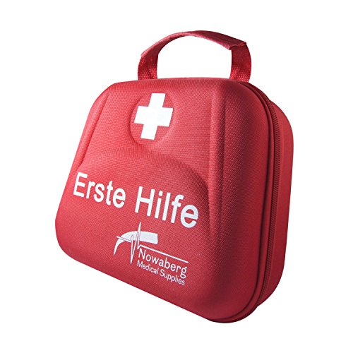 Nowaberg Medical Supplies Erste-Hilfe-Set mit CE-Kennzeichnung für Sport, zu Hause, im Büro, im Wohnwagen, beim Camping, bei Ausflügen oder auf Reisen. Tasche mit 85-teiligem Inhalt für den Notfall