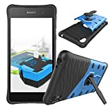 Qiaogle Téléphone Coque - Shock Proof TPU + PC Hybrid Stents Housse Case pour Sony Xperia E5 (5.0 Pouce) - CD04 / Noir & Bleu