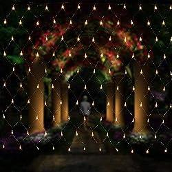 Salcar Filet lumineux à LED 3 x 2 m pour décoration de Noël, fêtes, intérieur, 8 programmes de changement de lumière (blanc chaud)