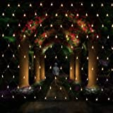 Salcar rete di luci a LED, ghirlanda luminosa, LED Rete luminosa, 3 * 2 metri per le feste di Natale, Decorare, Party, interno, 8 programmi scelta di colori (bianco caldo)