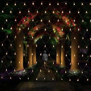 Salcar Rete di Luci Tenda di Luci per Natale, Rete luminosa da giardino + 3m Cavo di alimentazione, Catene luminose per… 10 spesavip
