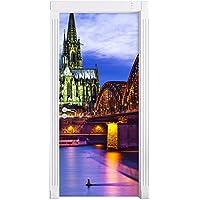 Meraviglioso ponte Hohenzollern di notte come una parete, Formato: 200x90cm, telaio della porta, adesivi porta, porta decorazione, autoadesivi del