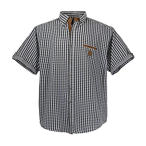 1129 Black-White-kariert (kleine Karos)Übergröße Lavecchia Herren kurzarm Hemd Gr. 3-7 XL (6XL) (Kurzarm Herren Hemd Karo)