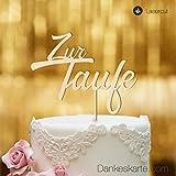 Dankeskarte.com Cake Topper zur Taufe Zweizeilig - Buchenholz - XL