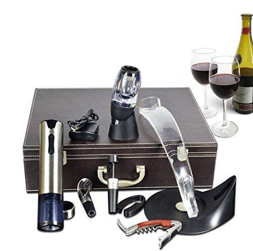 Accessori vino, cavatappi elettrico ricaricabile + apribottiglie in palissandro + taglierina a pellicola + tappo sottovuoto + aeratore vino decanter + anello salvagoccia vino a goccia + supporto, regalo per gli amanti del vino