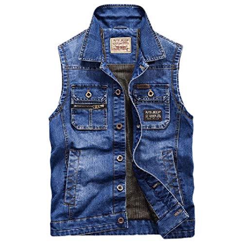 CuteRose Mens Casual Button-Up Pocket Vintage Wash Loose Fit Denim Vest Light Blue M Medium Wash Denim Vest