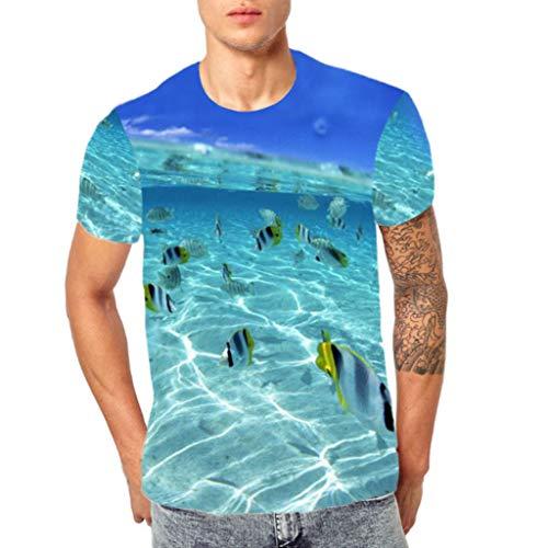 Battnot Herren T Shirt Blau Lustig, Karneval Kostüm 3D Tropische Fische im Meer Druck Männer Strand Urlaub Tops Rundhals Kurzarm Slim Fit Frühling Sommer Casual Freizeit Hemd Mens Bluse M-3XL (Kostüm Mann Fisch)