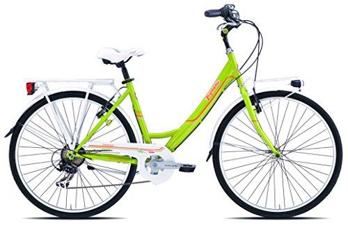Legnano ciclo 261 tropea, city bike donna, verde/arancione, 46