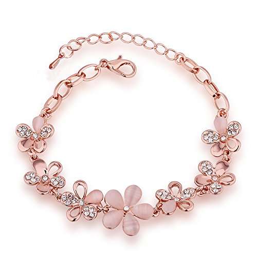 QueenDer Seven Opal Rose Flower Bracelet, Luxury Adjustable Bangle Jewelry for Ladies Womens Girls Pink Gift Plated Rose Gold Color