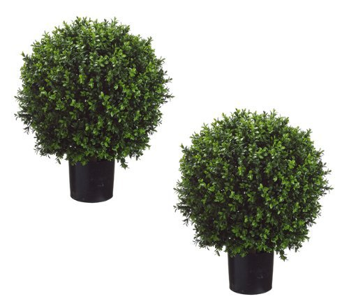 Set of 2 - Pre-Potted 24 High Ball Shaped Boxwood Topiary- 16 Diameter - Plastic Pot by Arcadia Silk Plantation - Ball Topiary Silk