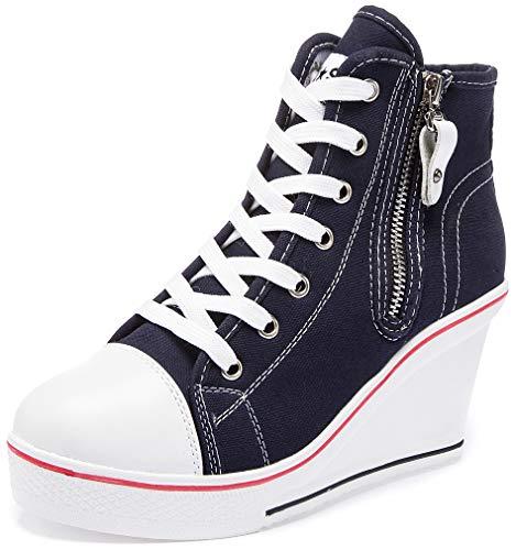 Solshine Damen Canvas Sneaker Wedge Turnschuhe mit 6cm Keilabsatz 689 Dunkel Blau 37EU