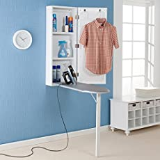 Harper BLVD White Wall-Mounted Ironing Board and Storage Center