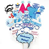 Anladia 31tlg. Boy Foto Verkleidung Photo Booth Props Maske Baby Taufen Party Geburtstag Baby Duschen Fotorequisiten Fotoautomaten Baby Shower Partymitbring