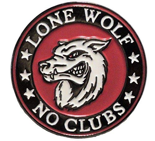 Lone Wolf No Clubs Biker Rocker Metal Enamel Motorcycle Badge