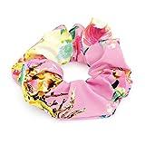 Flower Print 4cm Elasticated Hair Scrunchie Pink Tones